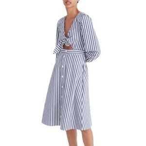 Madewell Shimmer Stripe Cutout Midi Dress Size 8